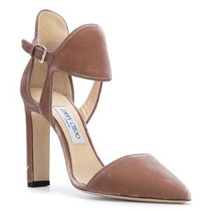 Jimmy Choo Moon 100 Pumps Blush Pink Velvet
